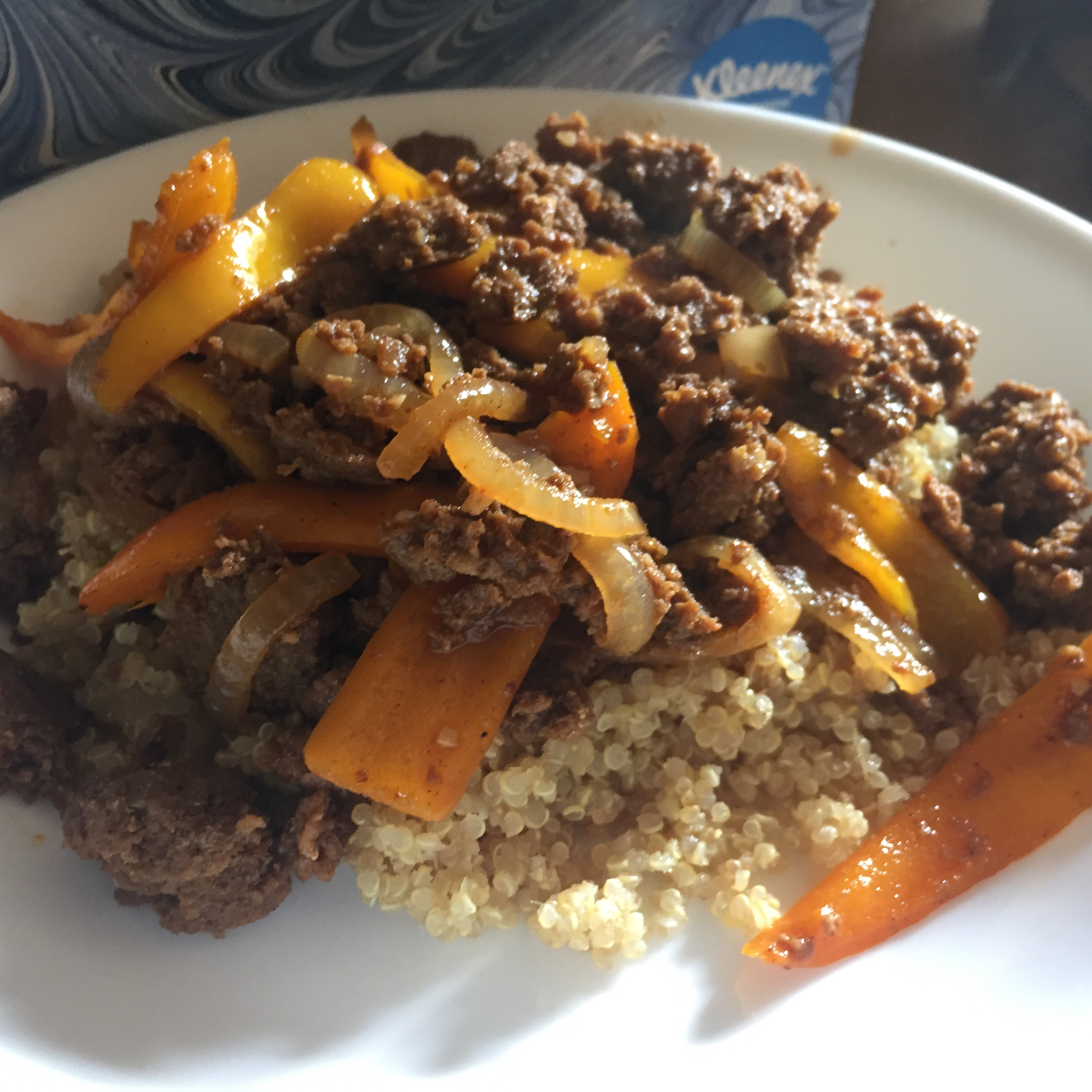 Chicken Chorizo on Quinoa with Peppers