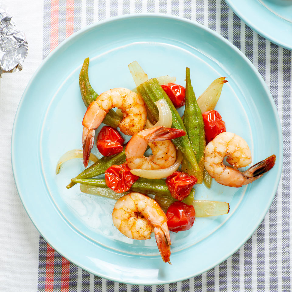 Okra retains a delightful tender-crisp texture when cooked in a packet. Here, it teams up with shrimp, tomatoes and Cajun seasoning for a satisfying meal with a taste of New Orleans. Serve with grilled whole-grain bread or polenta. Source: EatingWell.com, May 2018