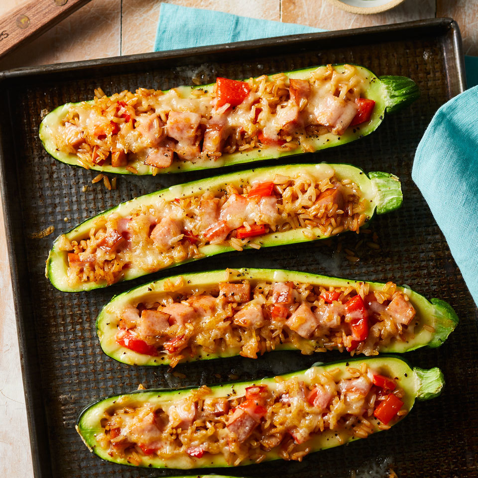 Zucchini holds a flavorful filling of smoky sausage, brown rice and red bell pepper in this healthy dinner recipe. Opt for smoked paprika if you want to give your zucchini an extra burst of smoky flavor. Source: EatingWell.com, May 2018