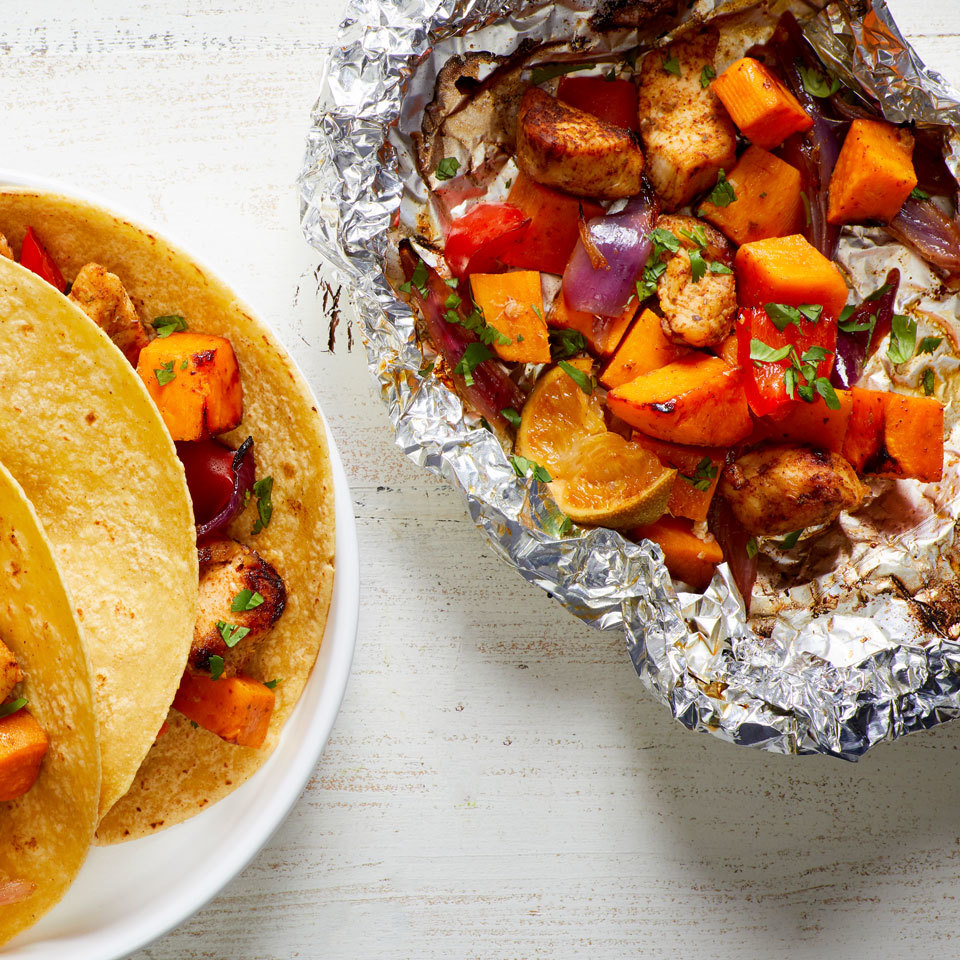 Cook your whole meal in a packet on the grill with this easy veggie-loaded recipe. The Mexican-inspired seasoning makes the chicken and veggies taste great served with warm tortillas and your favorite taco toppings for a healthy dinner. Source: EatingWell.com, May 2018