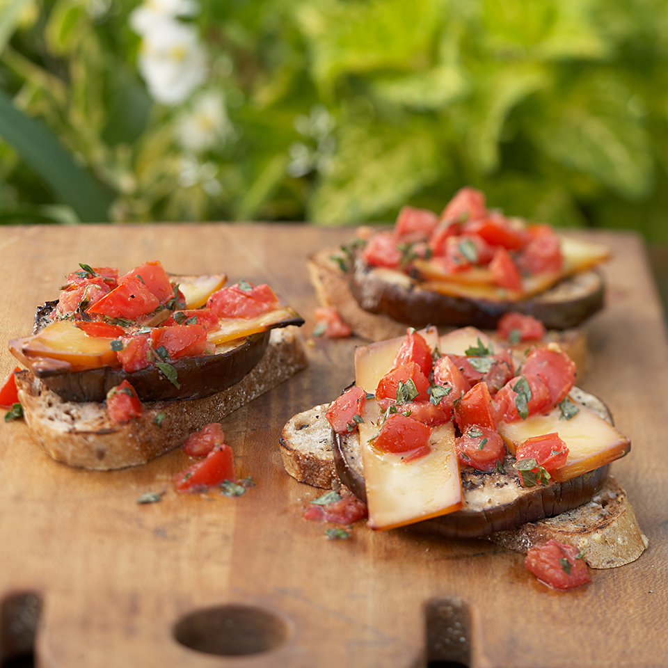 Grilled eggplant slices topped with smoky Gouda cheese and herb-seasoned tomatoes make these vegetarian burgers into a dinner that even meat-lovers would enjoy.Source: Diabetic Living Magazine