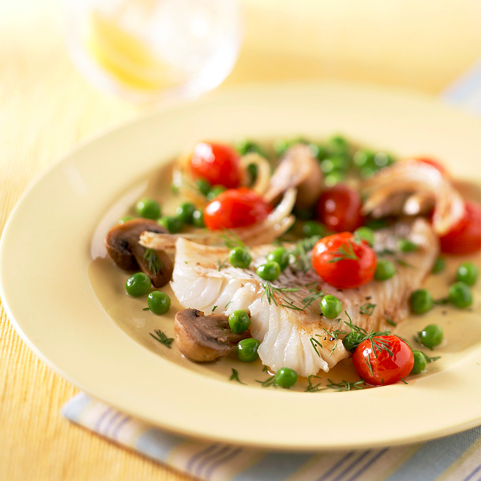 Oven-Roasted Fish with Peas and Tomatoes Diabetic Living Magazine
