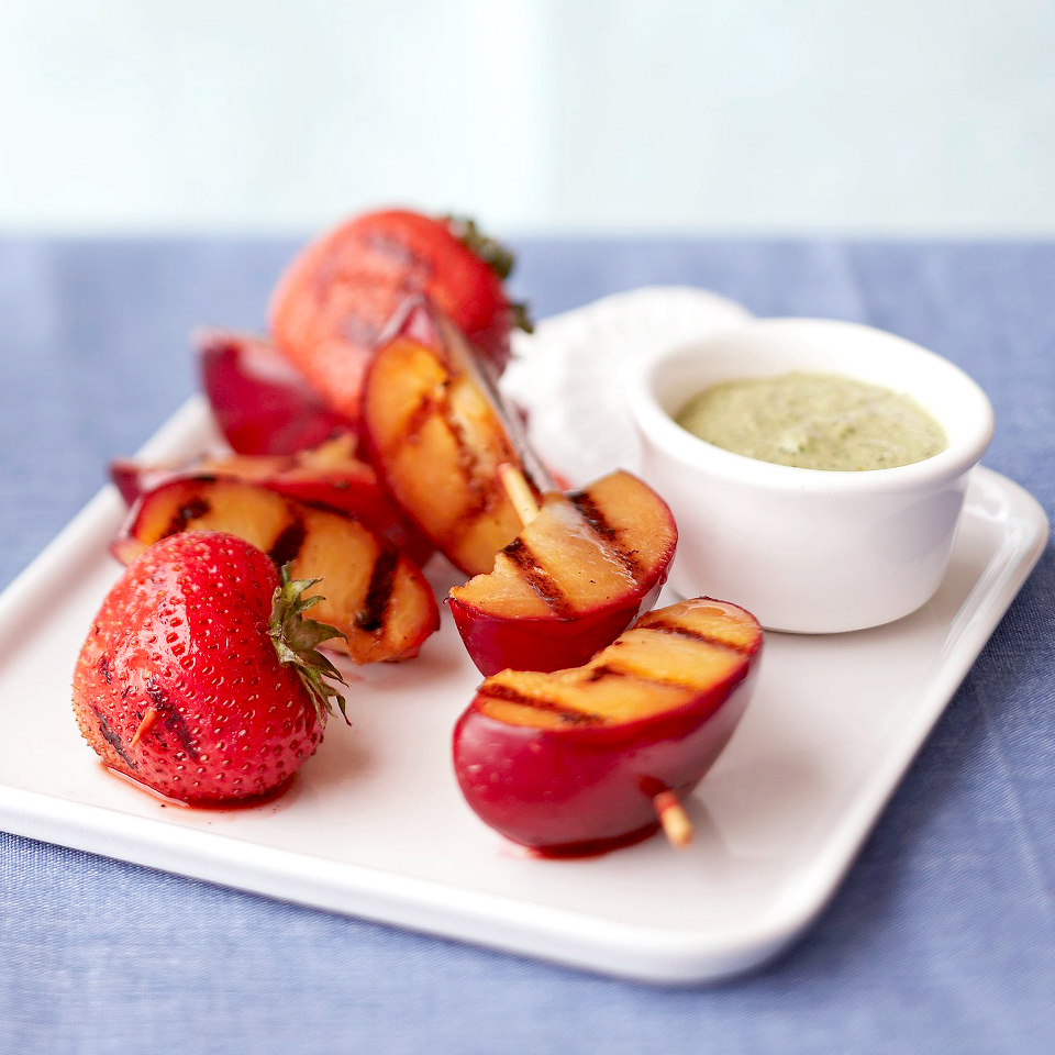 Grilled Plum & Strawberry Skewers with Sweet Mint Pesto Diabetic Living Magazine