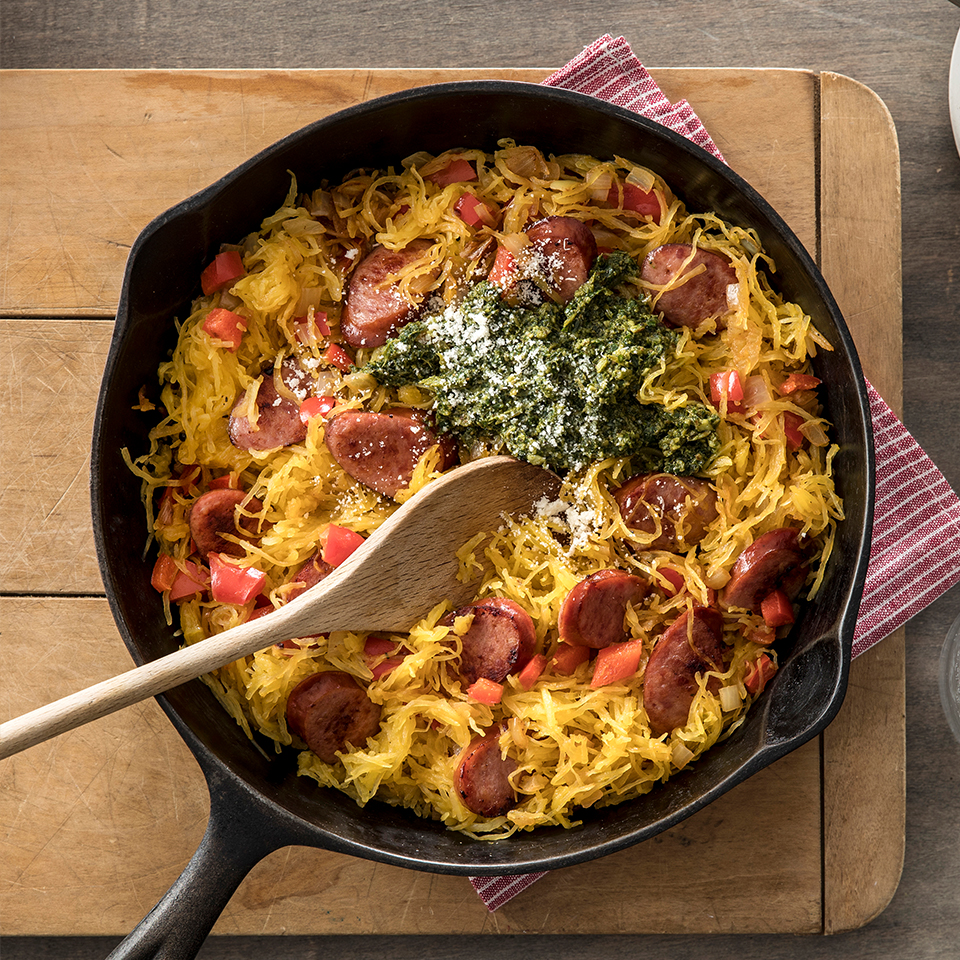 Pesto Spaghetti Squash Skillet with Hillshire Farm® Smoked Sausage