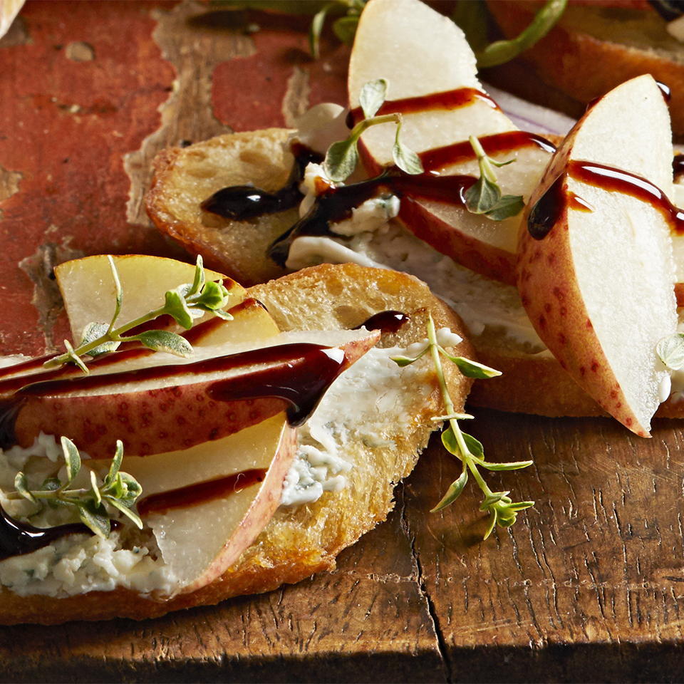 Pear Crostini with Blue Cheese Spread Diabetic Living Magazine
