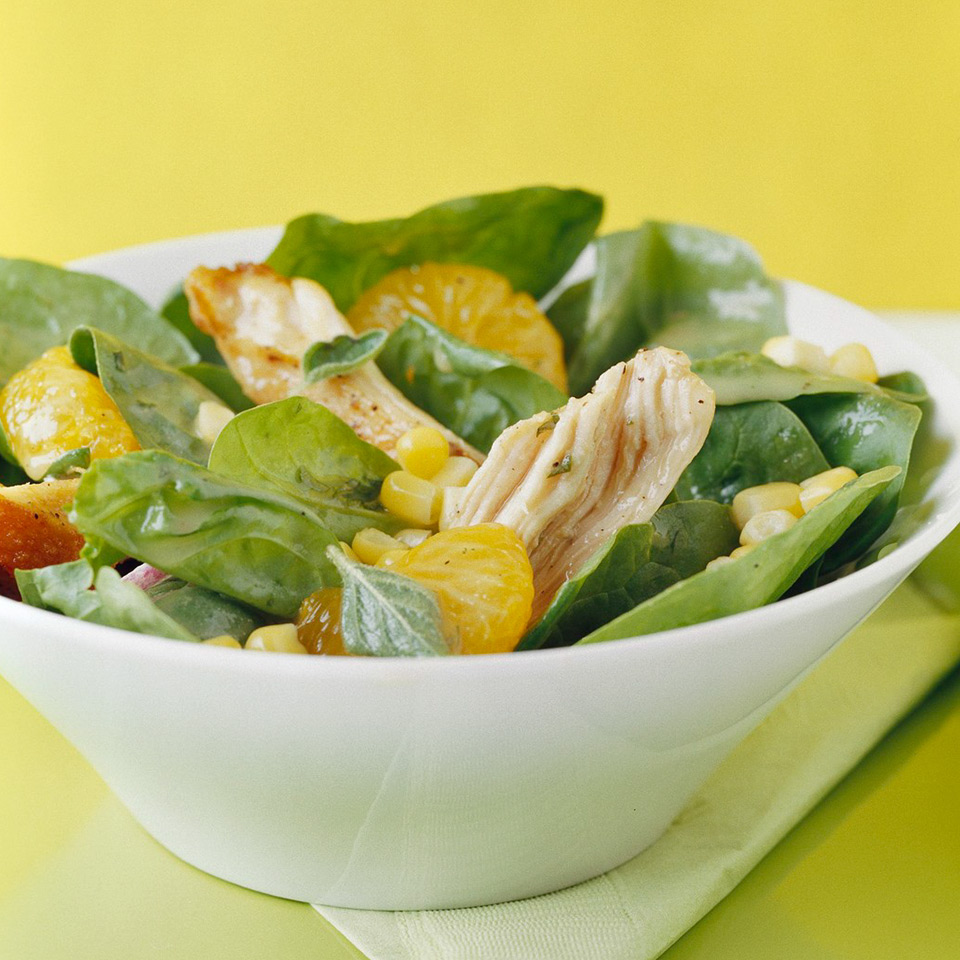 This garden-fresh spinach salad is a terrific way to use up leftover chicken. Or when you're cooking chicken breasts, add an extra piece or two so there's some left over. Source: Diabetic Living Magazine