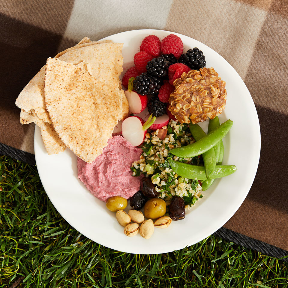 This Mediterranean-inspired vegan picnic dinner features traditional fare like tabbouleh, hummus, olives and fresh fruit and vegetables. It's perfect to pack and take along or even to serve as an easy, healthy meal at home. Source: EatingWell.com, May 2018