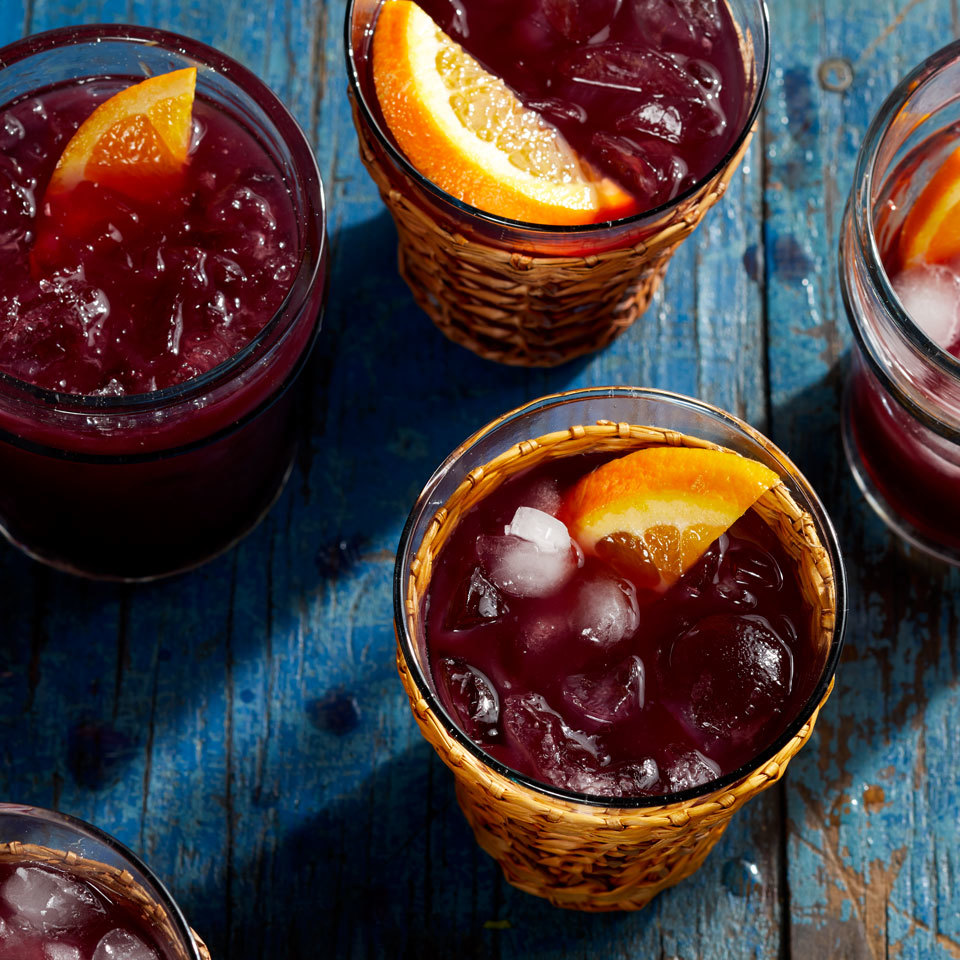 This fruity red sangria is just like what you would get in a restaurant. It's easy to make with just five ingredients. A big batch is perfect for parties--or any night on the patio.Source: EatingWell.com, May 2018