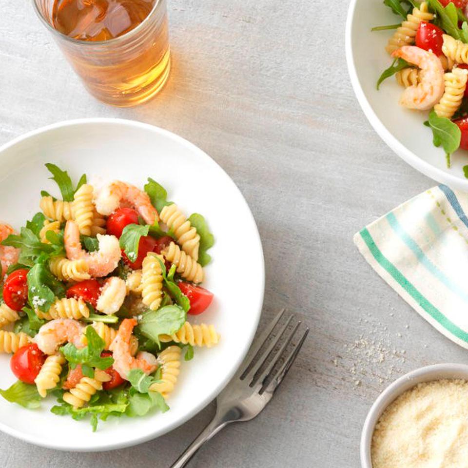 Weeknight Shrimp and Arugula Rotini with Ready Pasta