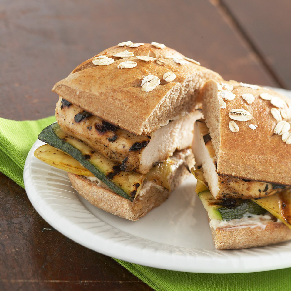 Spread whole wheat buns with lime dressing and then top with grilled chicken and zucchini to make these main-dish sandwiches. Source: Diabetic Living Magazine