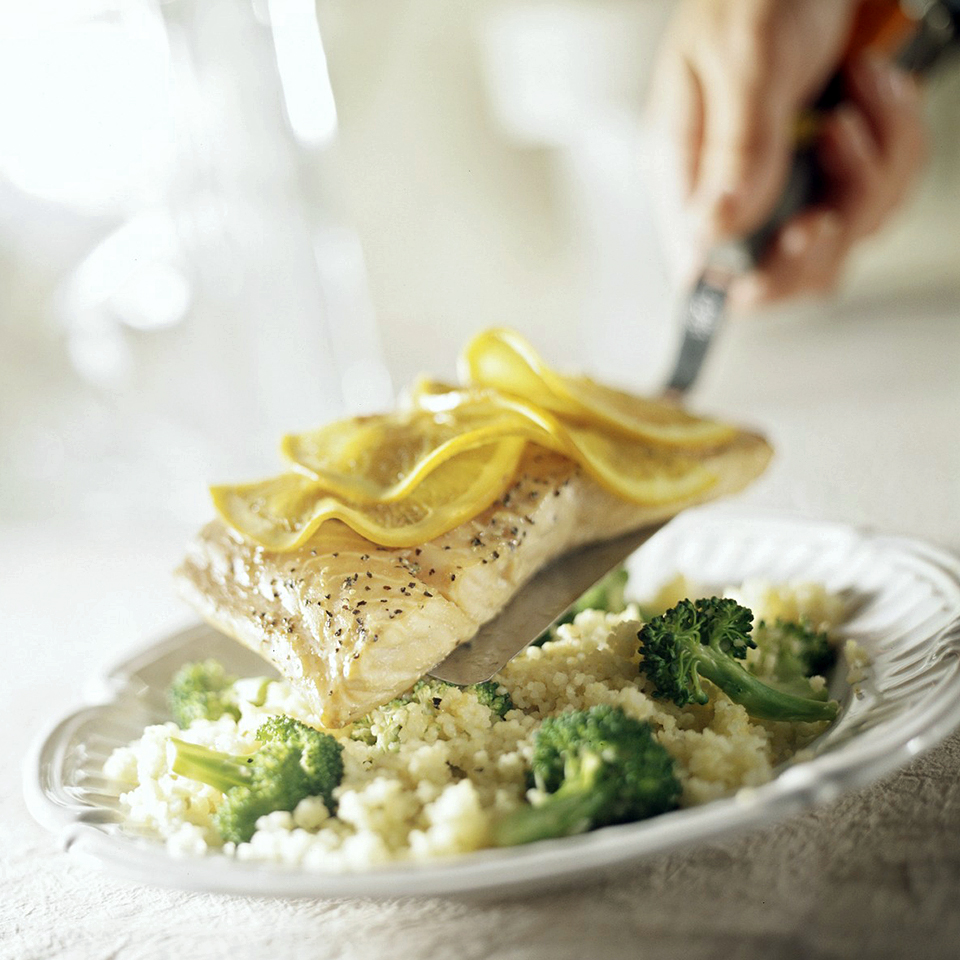 Go fishing at your grocery store and you won't find a meal that is much easier, or healthier, than this one. Salmon is one of a few foods that contain omega-3 fatty acids, which can help prevent disease. Source: Diabetic Living Magazine
