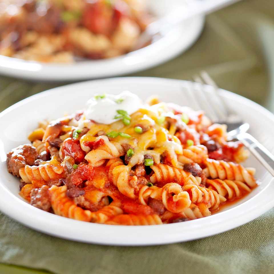 This hearty casserole features ground beef, beans, and pasta baked in a flavorful Mexican-inspired sauce and topped with cheese and sour cream. Kids will love it! Source: Diabetic Living Magazine