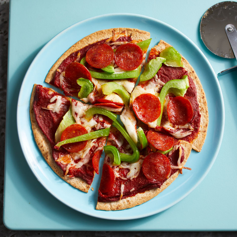This easy pizza takes only 15 minutes from start to finish and uses simple ingredients you could find in your pantry. Tomato paste adds flavor without sogging out the crust. Skip the pepperoni for a vegetarian-friendly version, or add your own favorite toppings. Source: EatingWell.com, May 2018