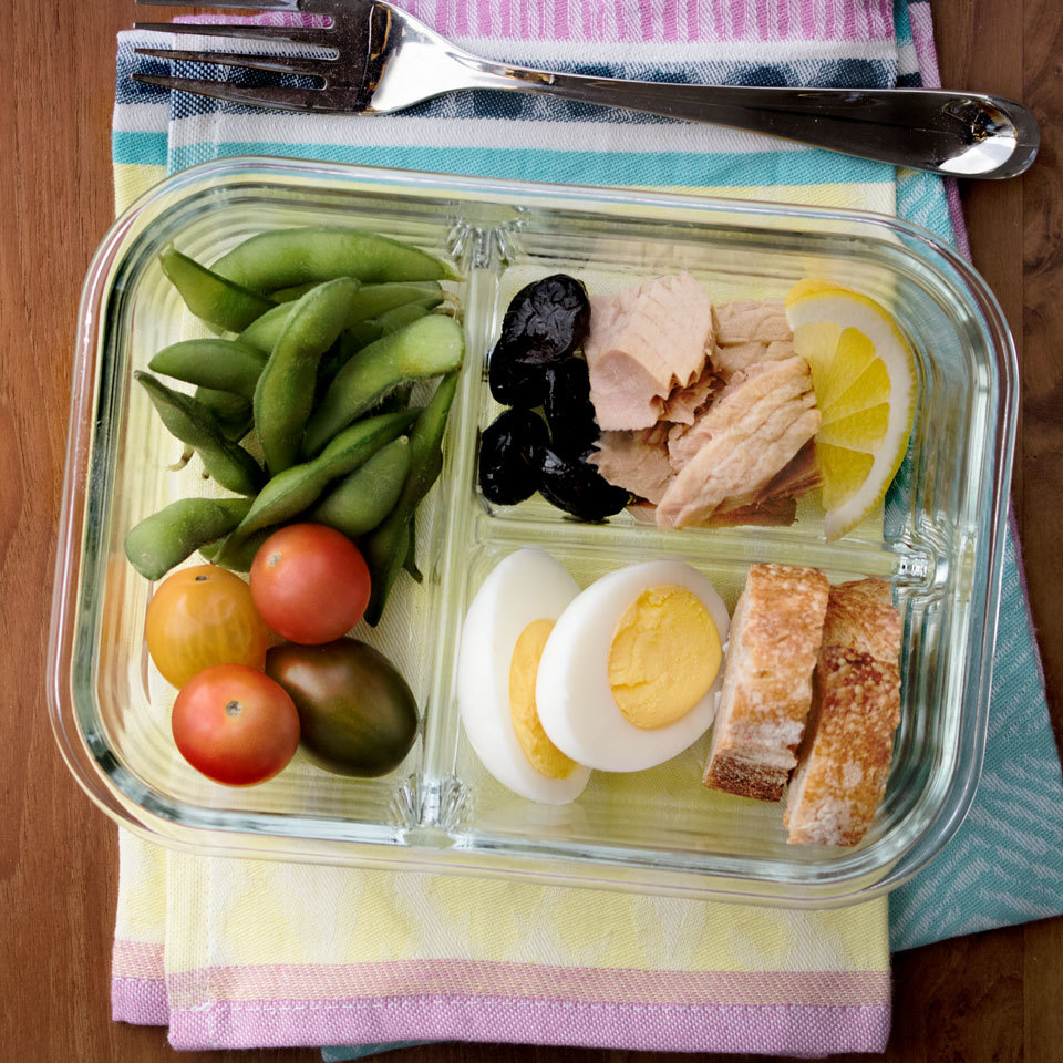 Inspired by Starbucks' bistro boxes, this affordable lunch is easy to make and pack yourself. With high-protein ingredients like a hard-boiled egg, edamame and tuna, this bistro-style lunch will leave you feeling satisfied. Source: EatingWell.com, May 2018