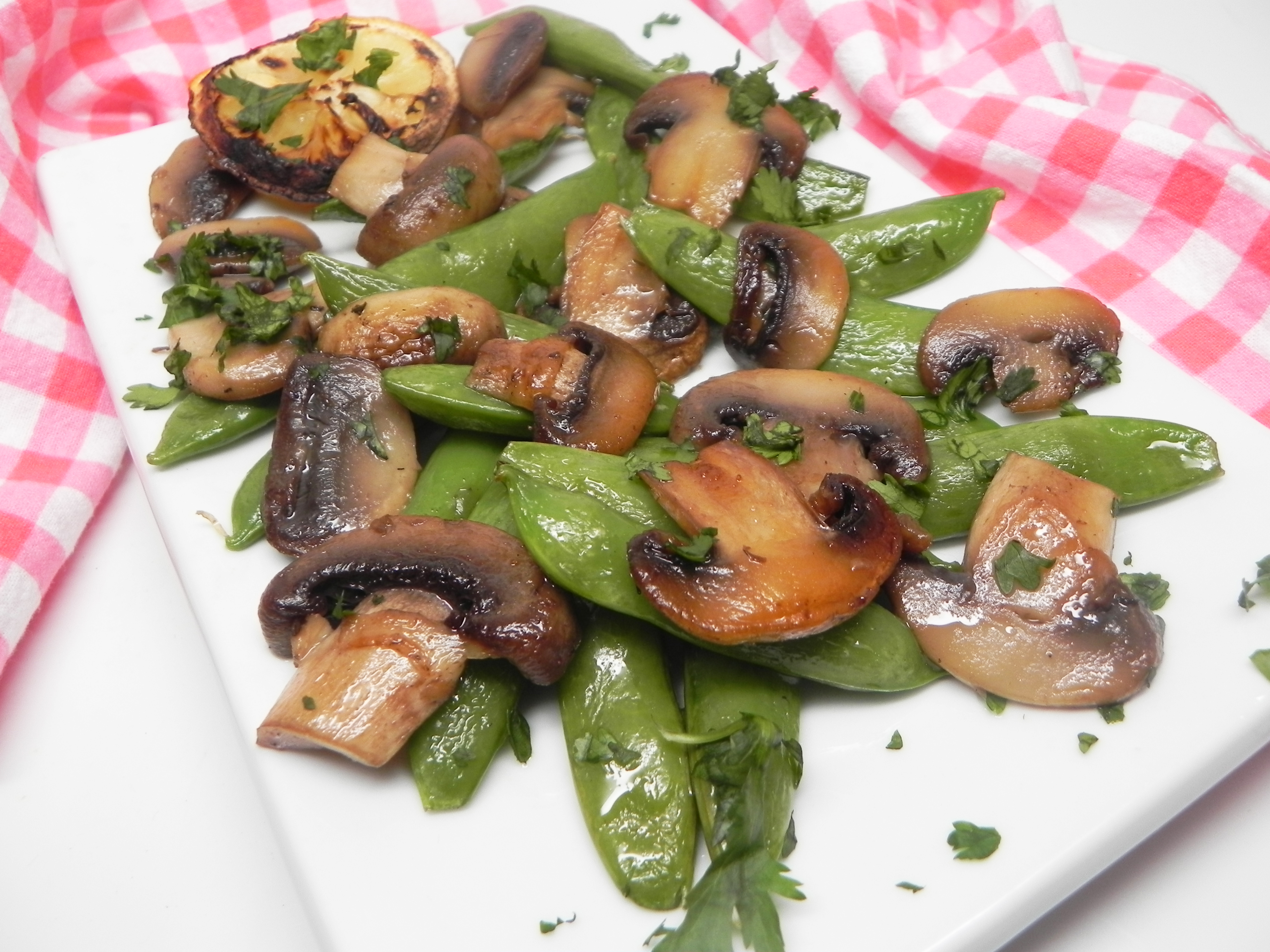 Sauteed Sugar Snap Peas with Mushrooms