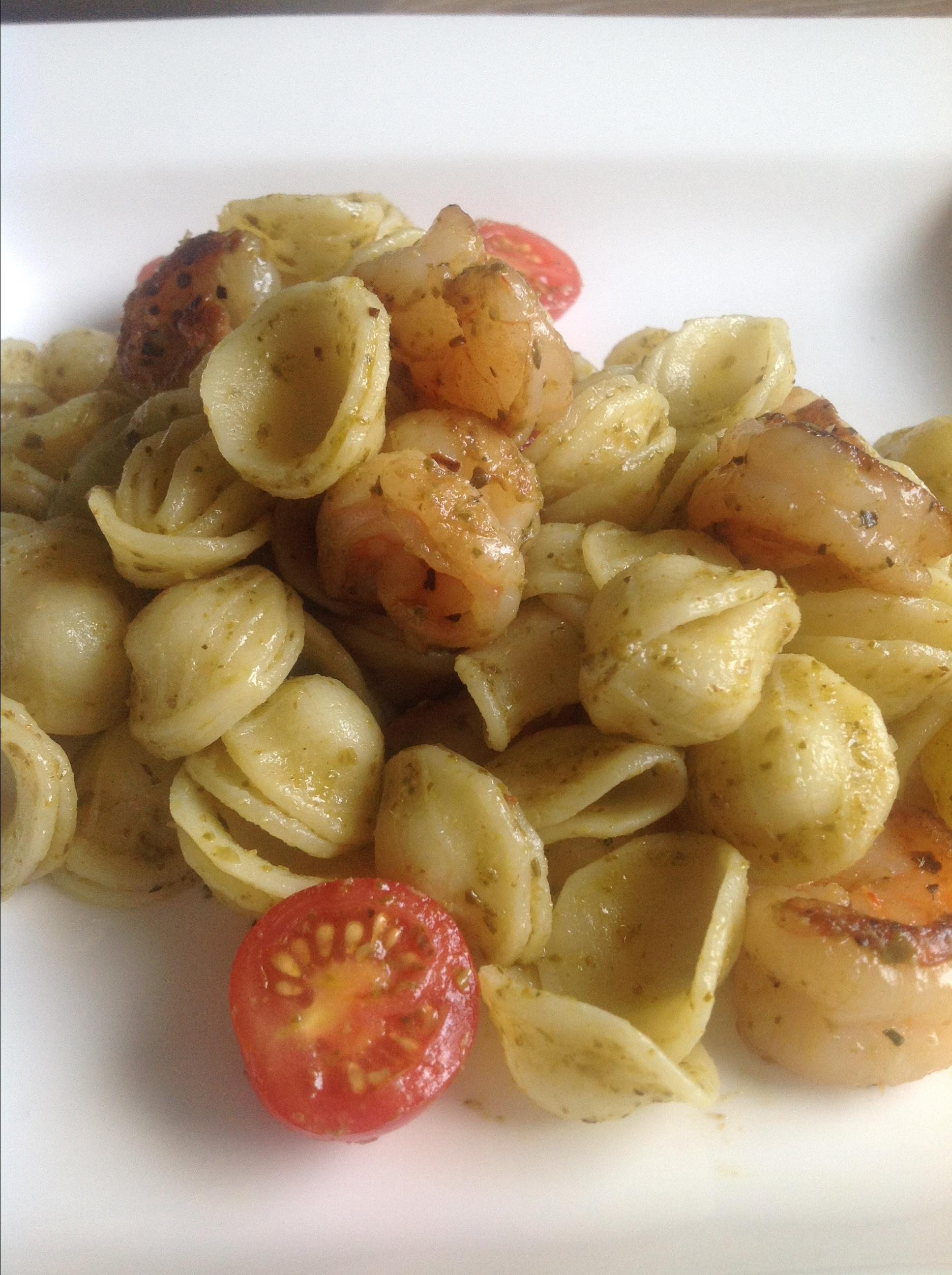 Orecchiette with Shrimp and Basil Pesto