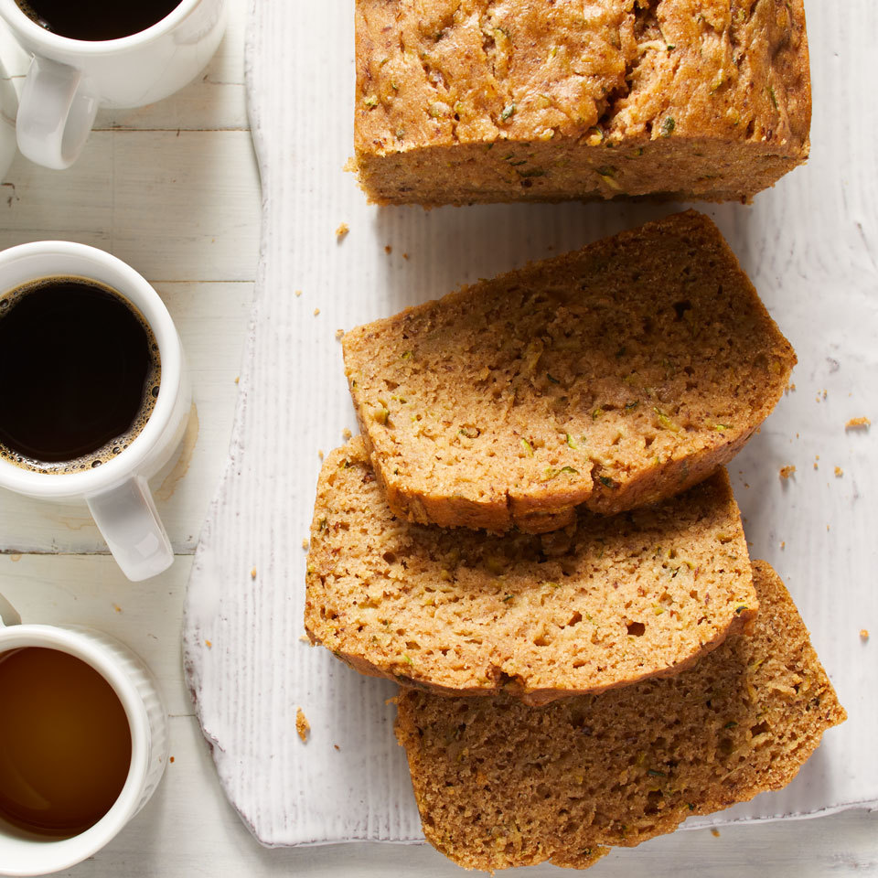 This whole-wheat zucchini bread uses juicy shredded zucchini in place of butter and milk for a tender loaf. Vegans and nonvegans alike will love how moist this quick bread is. You can add toasted nuts or coconut flakes, if you like. Vegan dark chocolate chips would be an ultra-decadent addition. Source: EatingWell.com, May 2018