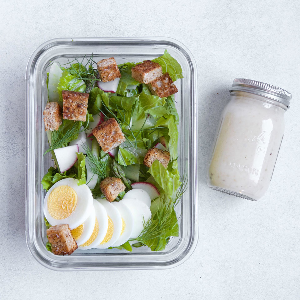 This salad capitalizes on fresh spring produce and gets a simple protein boost from hard-boiled eggs. Meal-prep this healthy lunch salad by mixing the salad base together and simmering a batch of hard-boiled eggs on the weekend. Then you'll be ready to just add one or two eggs with a drizzle of tangy vinaigrette for the simplest spring salad-to-go. Source: EatingWell.com, May 2018
