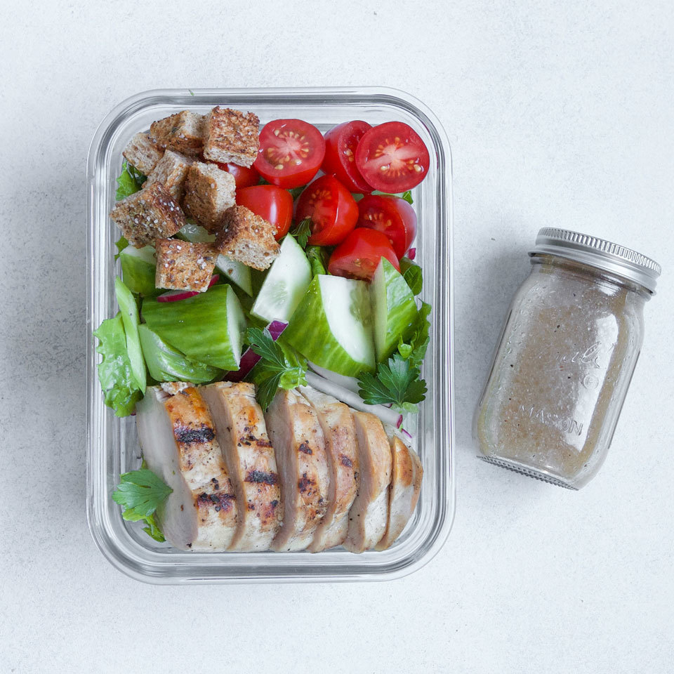 Leftover chicken or rotisserie chicken gets put to good use as a boost of protein in this healthy salad to pack for lunch. The classic chicken salad combines all the basics of a great house salad--greens, tomatoes, cucumbers and croutons--all tossed with a tangy red-wine vinaigrette. Source: EatingWell.com, May 2018