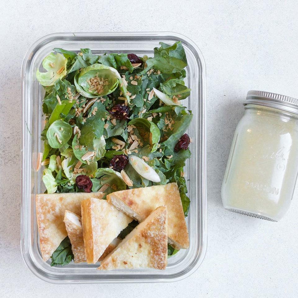 Power Greens Salad with Baked Tofu & Honey-Mustard Vinaigrette Lauren Grant