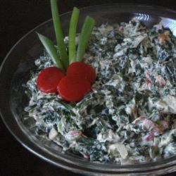 Hot Spinach Red Pepper Dip crème fraîche