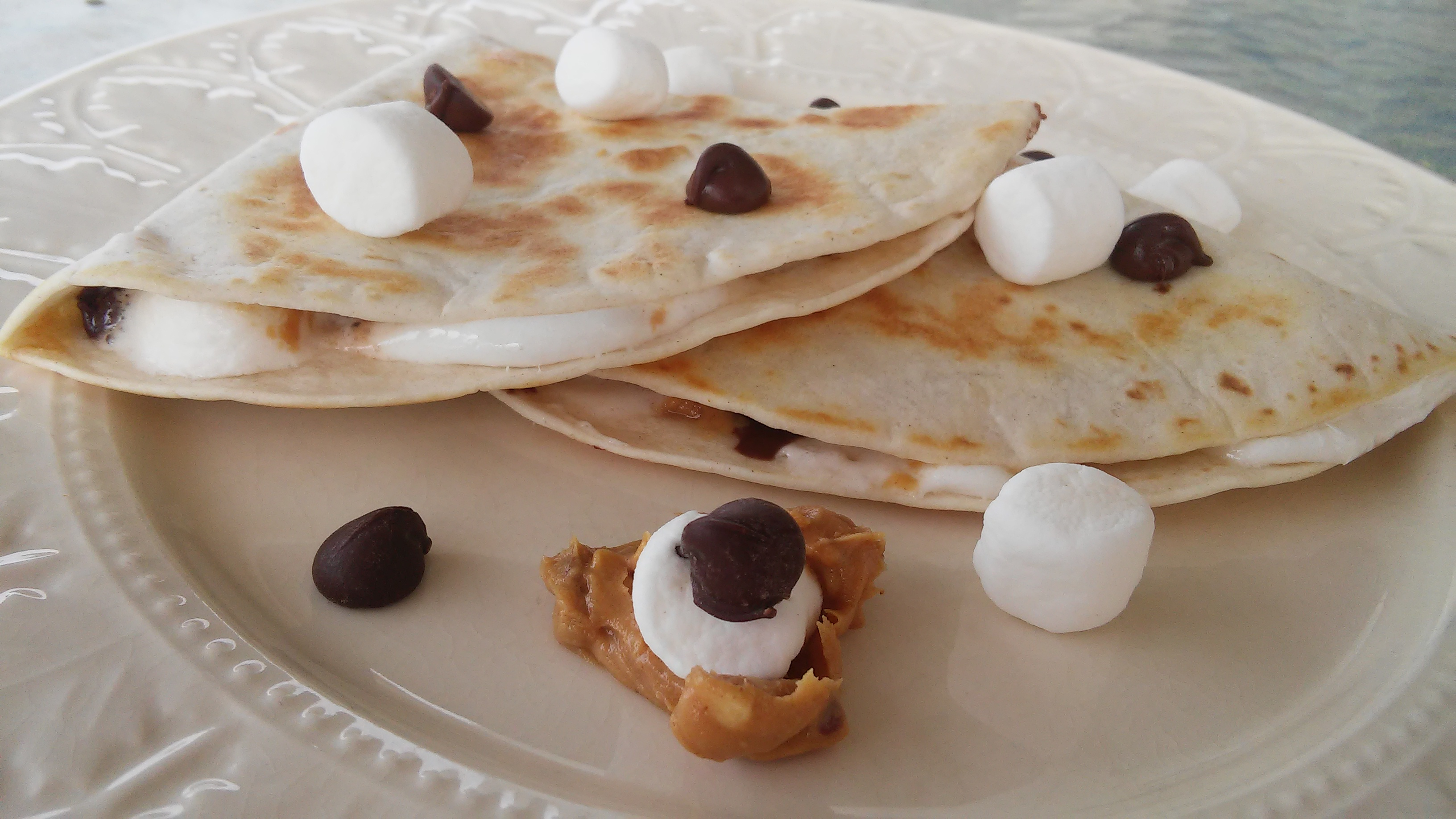 Dessert Quesadillas with Peanut Butter, Chocolate, and Marshmallow Tammy Lynn