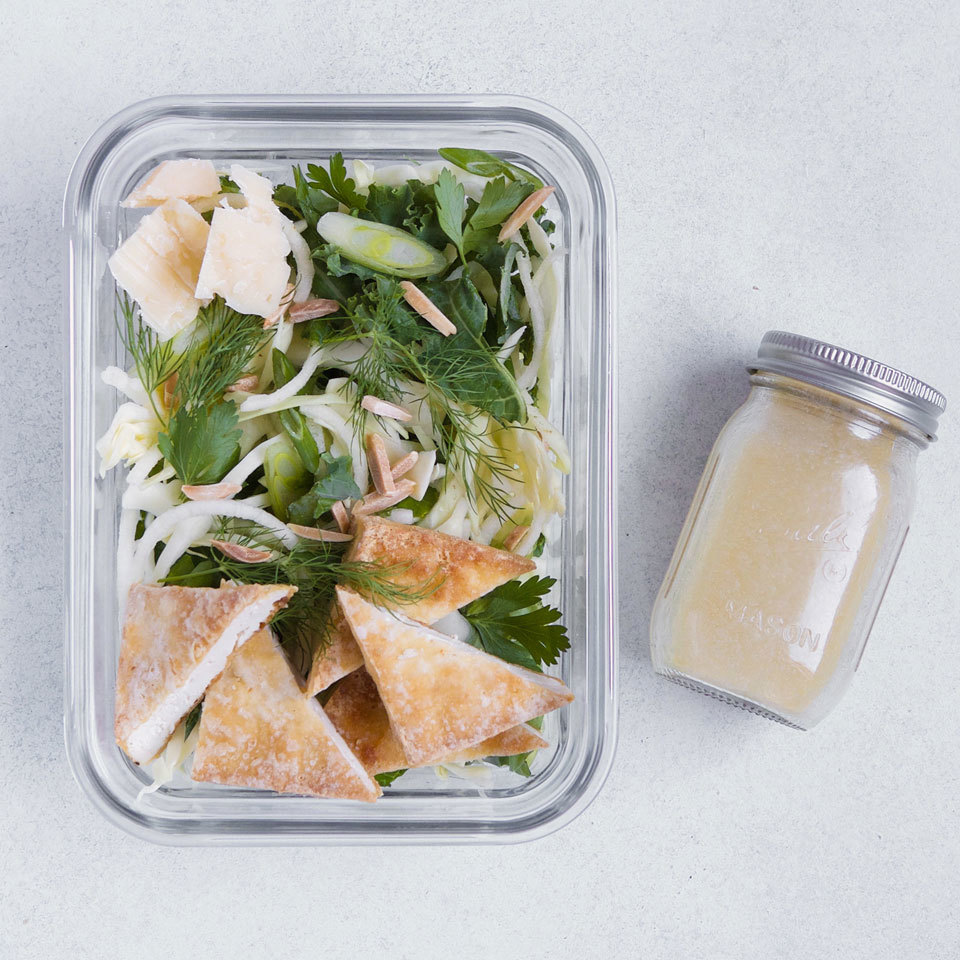 Baked tofu adds meatiness and protein this healthy packable lunch salad. A topping of toasted almonds and Parmesan adds a layer of nuttiness, and honey-mustard vinaigrette gives everything a sweet-tangy finish. Source: EatingWell.com, May 2018