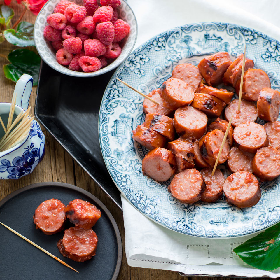 Sweet, smoky and savory, these sausage appetizer bites are a cinch to throw together at the last minute. Just throw some smoked sausage on the grill, slice and toss with the fresh homemade raspberry barbecue sauce for the ultimate crowd-pleaser.Source: EatingWell.com, May 2018