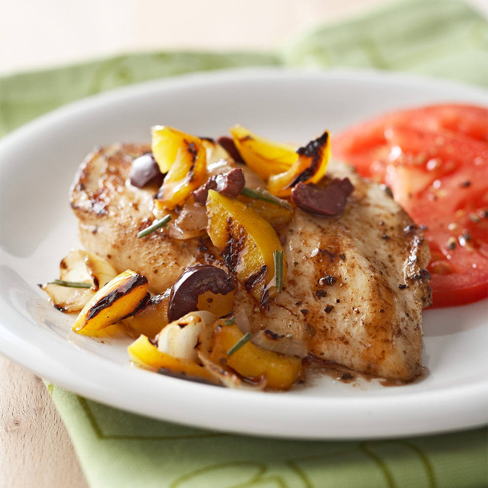 Chicken with Yellow Pepper-Olive Grilled Salsa Diabetic Living Magazine
