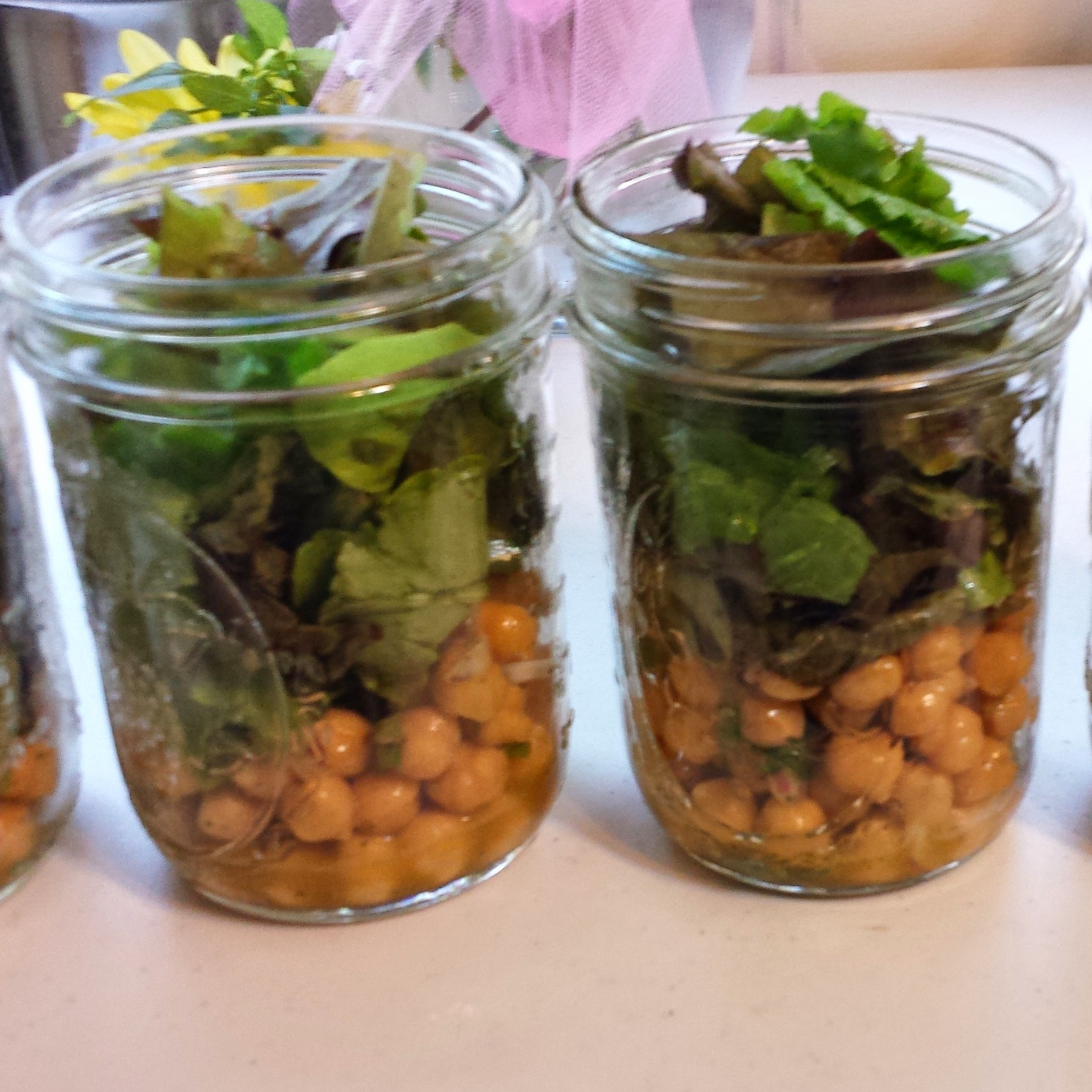 Kale Salad with Chickpeas in a Jar