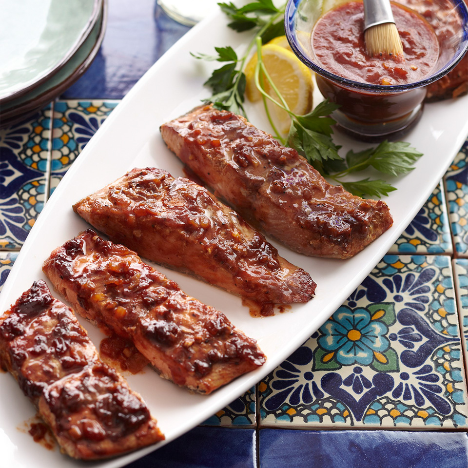 Ancho-Maple Barbecue Plank-Smoked Salmon Diabetic Living Magazine