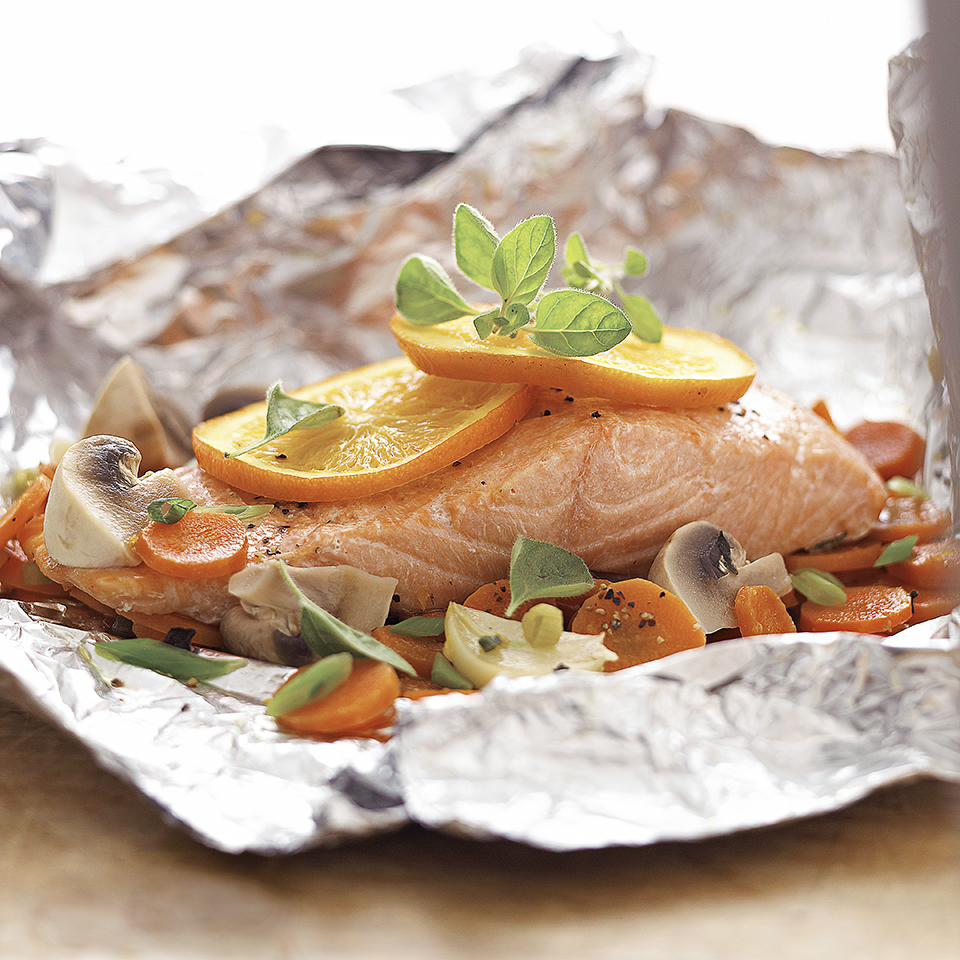 Clean up is a breeze with this recipe. Put the salmon and vegetables in a foil packet, then cook. Toss the foil after dinner and you're done.