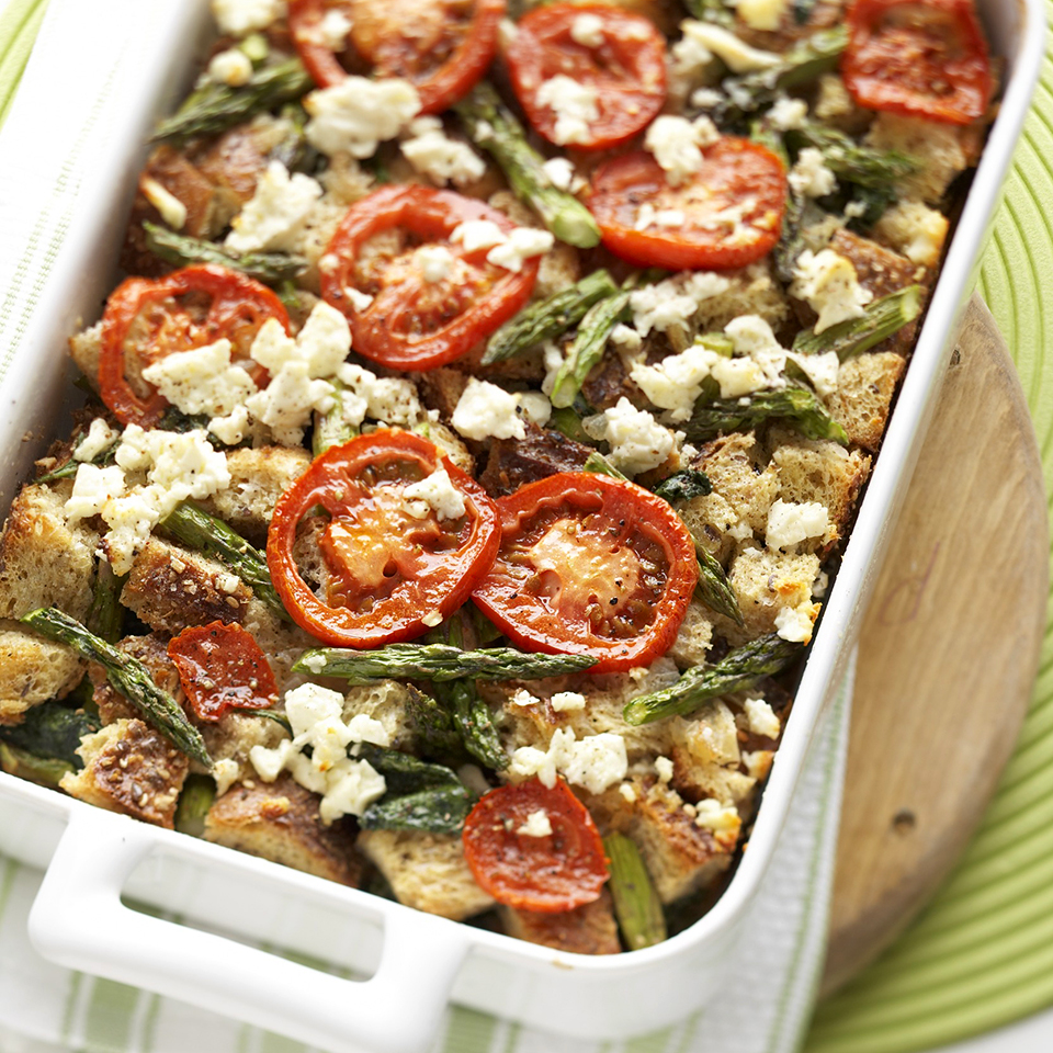 A colorful, delicious bake of eggs and whole wheat bread layered with asparagus, spinach, tomatoes, and feta cheese makes a special breakfast or brunch entree. Best of all, you make it ahead of time. Source: Diabetic Living Magazine