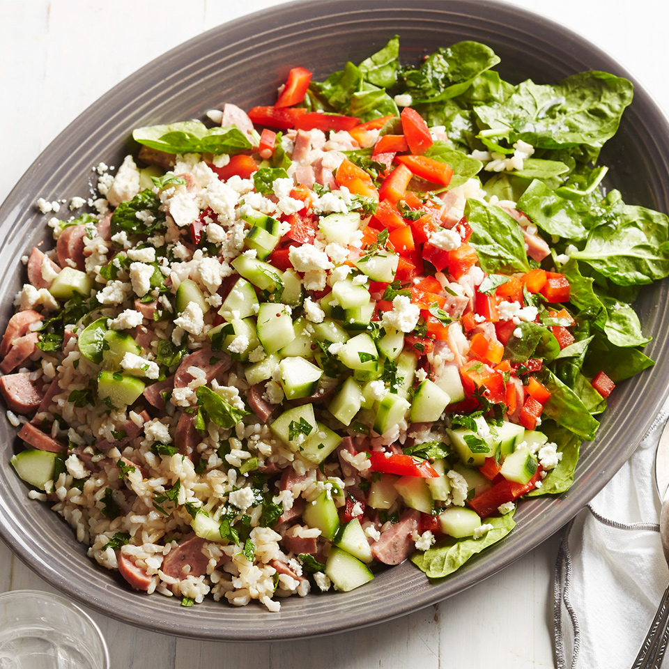 Spinach-Feta Rice Salad with Chicken Sausage Diabetic Living Magazine