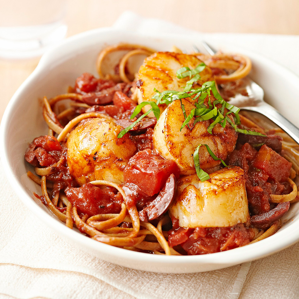 This Italian-inspired dish is full of flavor. Use whole grain or multigrain fettuccine to make it a healthier option. Source: Diabetic Living Magazine