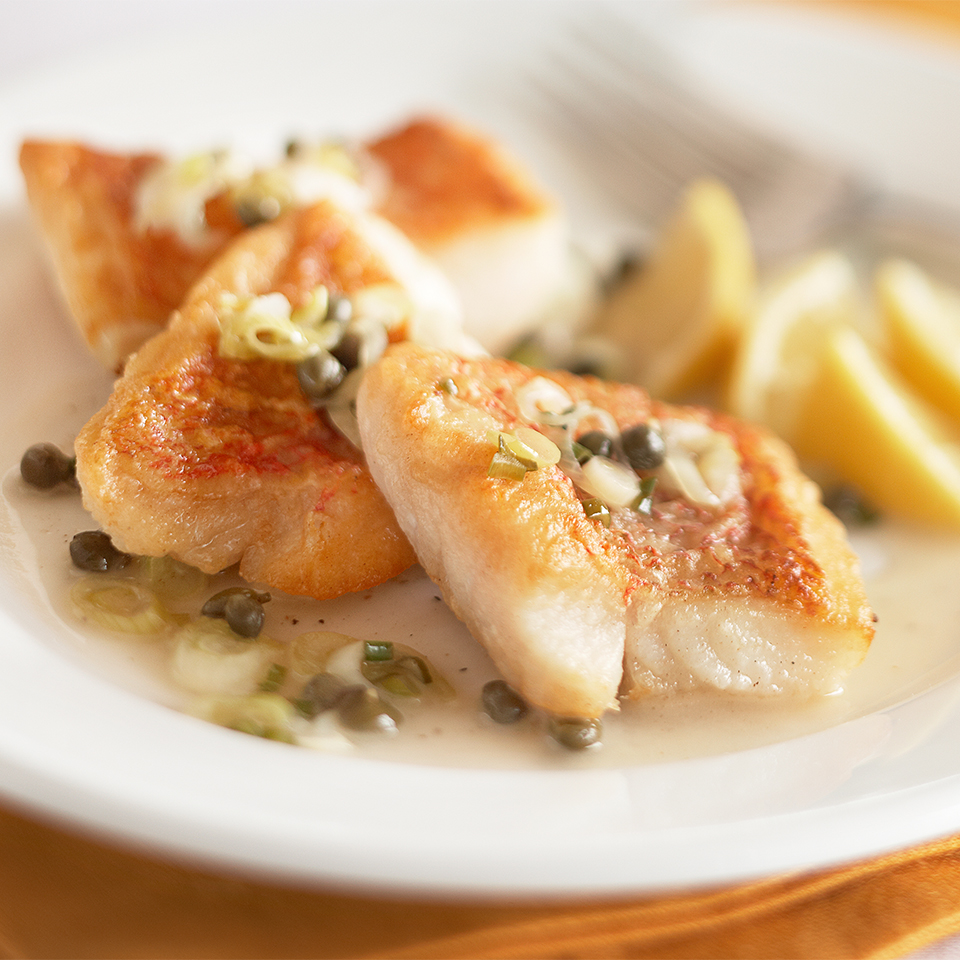 Lean snapper in a buttery lemon-caper sauce is a simple main dish, ready in just 30 minutes. Source: Diabetic Living Magazine
