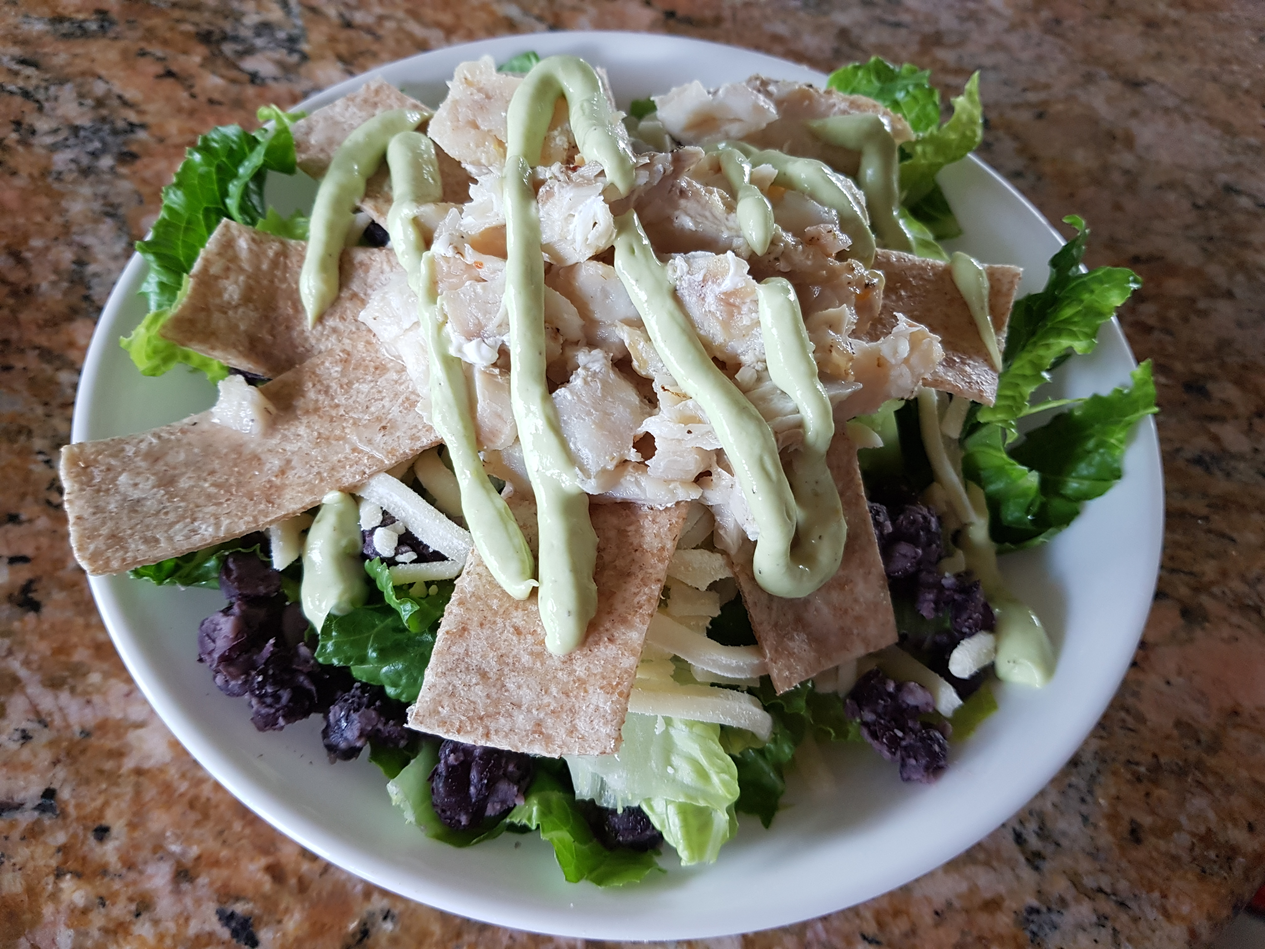 Grilled Fish Taco Salad with Avocado Dressing Megs
