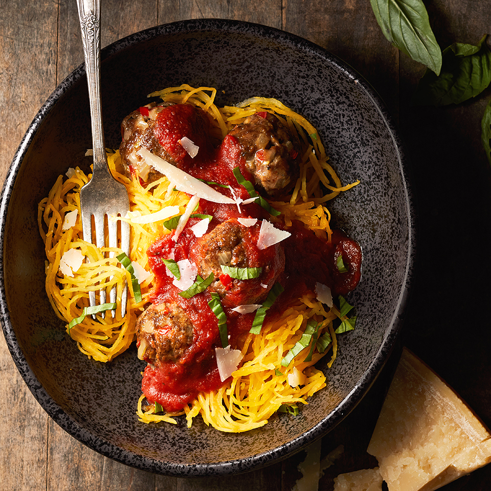 Looking for a pasta that's lower in carbohydrates? Look no further than spaghetti squash. Mix it with homemade meatballs and lower-sodium pasta sauce, and you will quickly love this healthy swap. Source: Diabetic Living Magazine