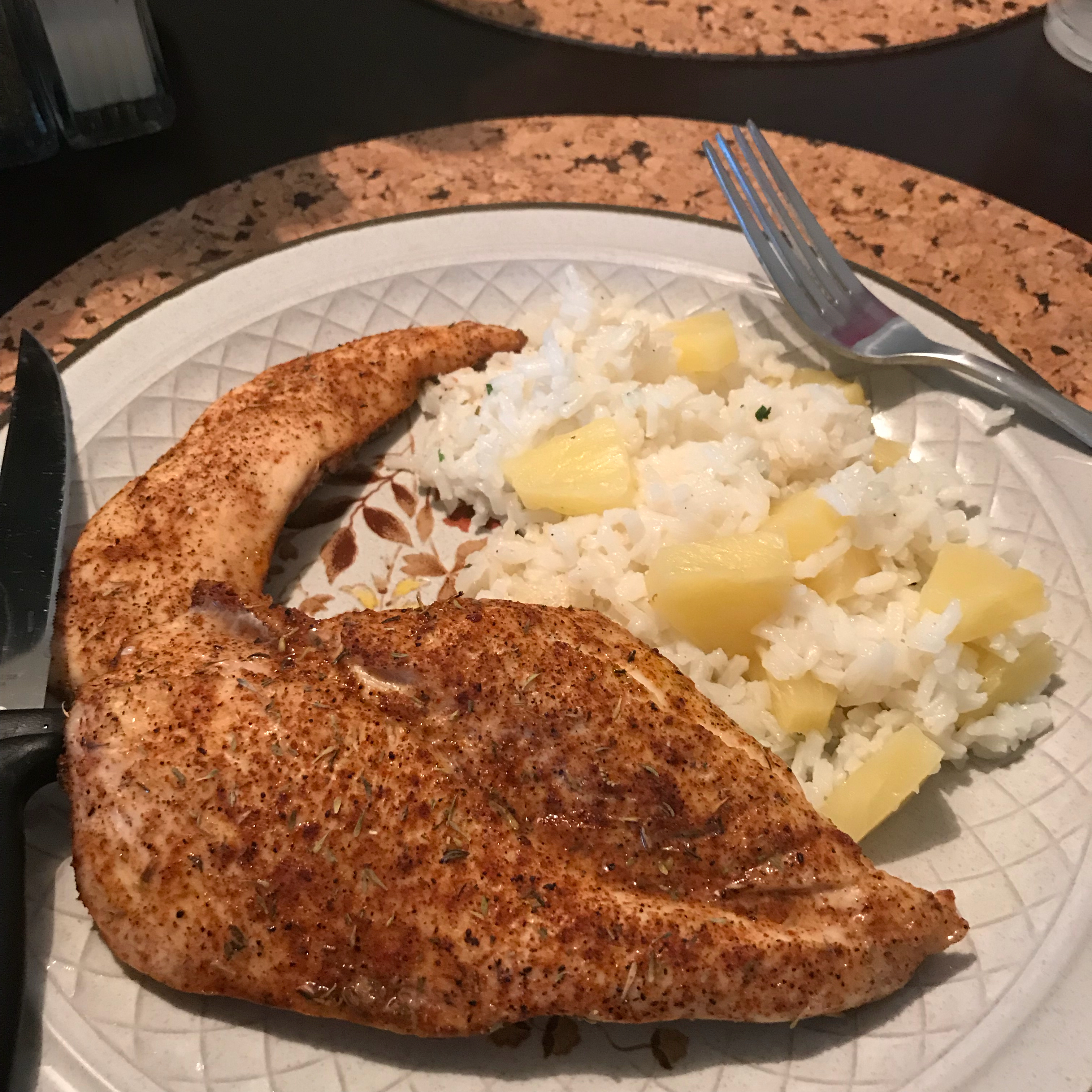 Caribbean Chicken with Pineapple-Cilantro Rice MJ