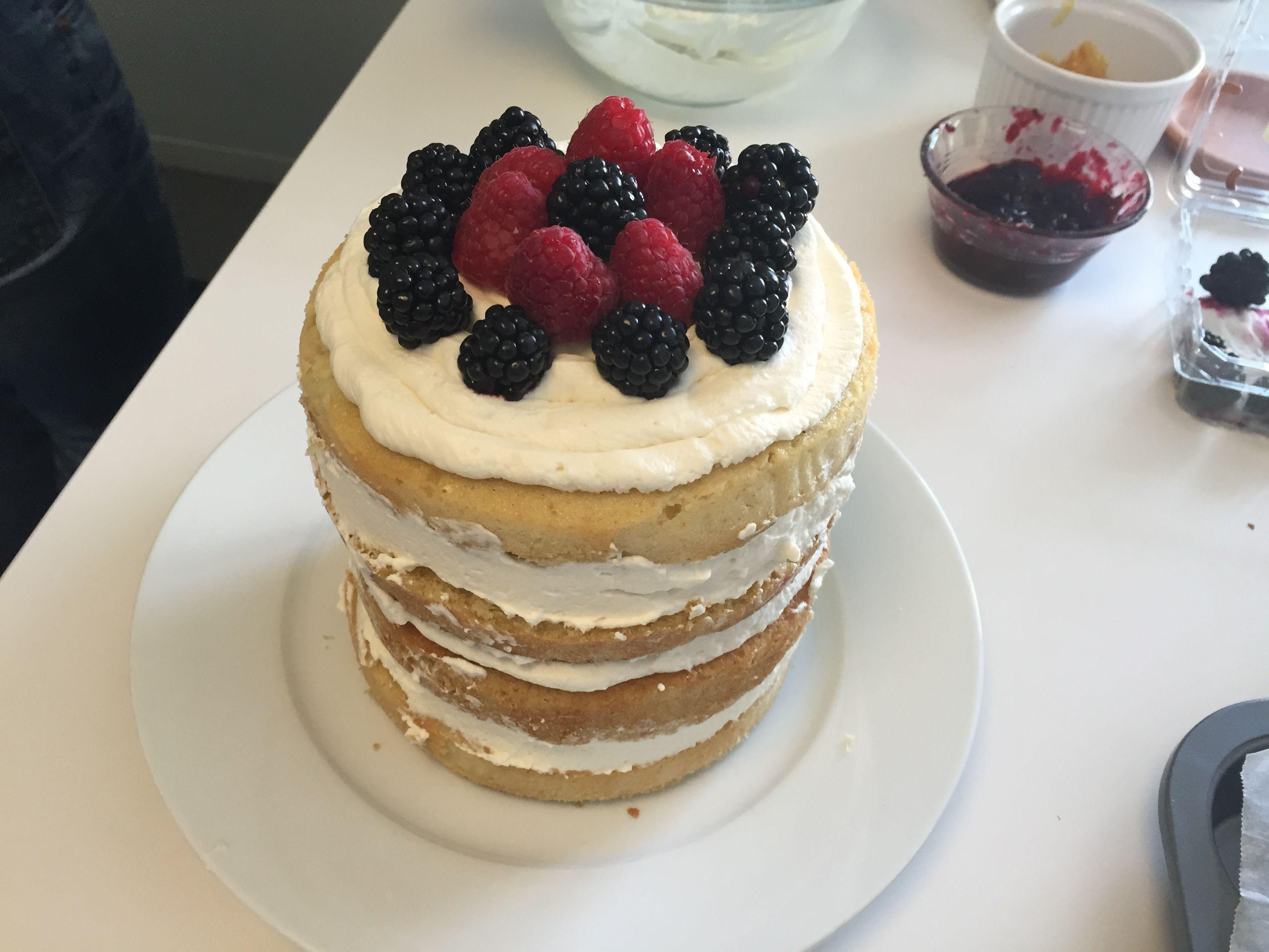 Naked Vanilla Cake with Mascarpone and Berries AllrecipesPhoto