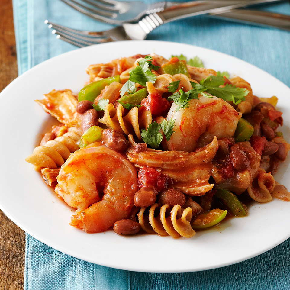 Cajun seasoning adds flavor and spice to this delicious slow-cooker pork and shrimp pasta dish. Our recipe calls for salt-free seasoning to lower the sodium content, or you have the option to make your own Cajun seasoning blend.