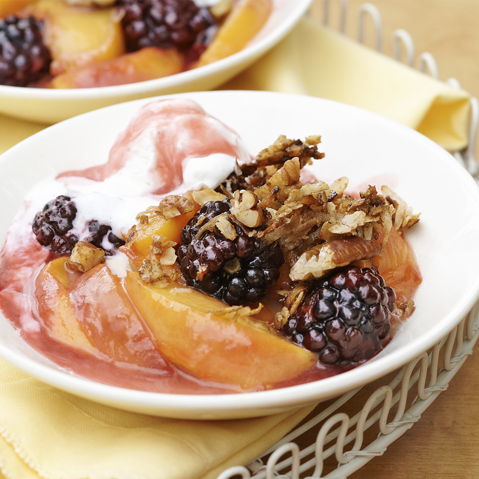 Stovetop Peach-Blackberry Crisp with Crunchy Oatmeal-Coconut Topping Trusted Brands