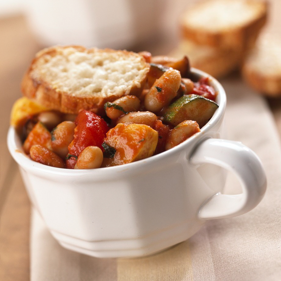 Adding a splash of vinegar just before serving boosts the flavor of this vegetarian main dish. The beans and vegetables make the stew high in healthy fiber. Source: Diabetic Living Magazine