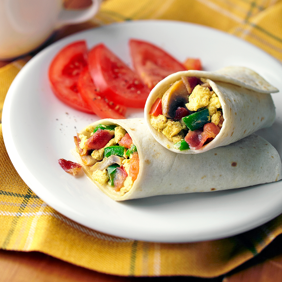 This Mexican-inspired bacon and egg breakfast is rolled in a tortilla and eaten with your hands. Source: Diabetic Living Magazine