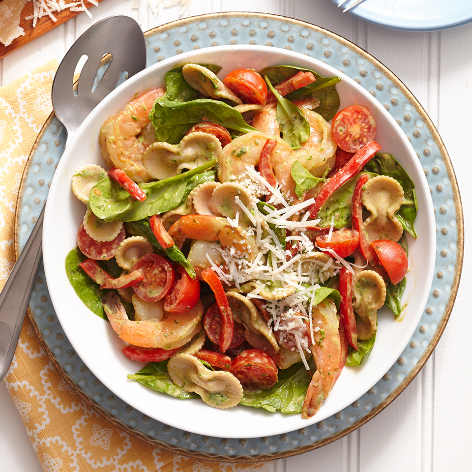 This recipe has a tasty secret: the creamy sauce is made with nutritious avocado! Mix it together with multigrain pasta for a healthy dinner option. Source: Diabetic Living Magazine