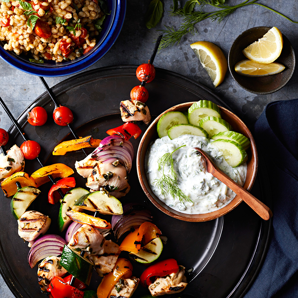 Chicken and Vegetable Souvlaki with Barley Pilaf and Tzatziki Diabetic Living Magazine