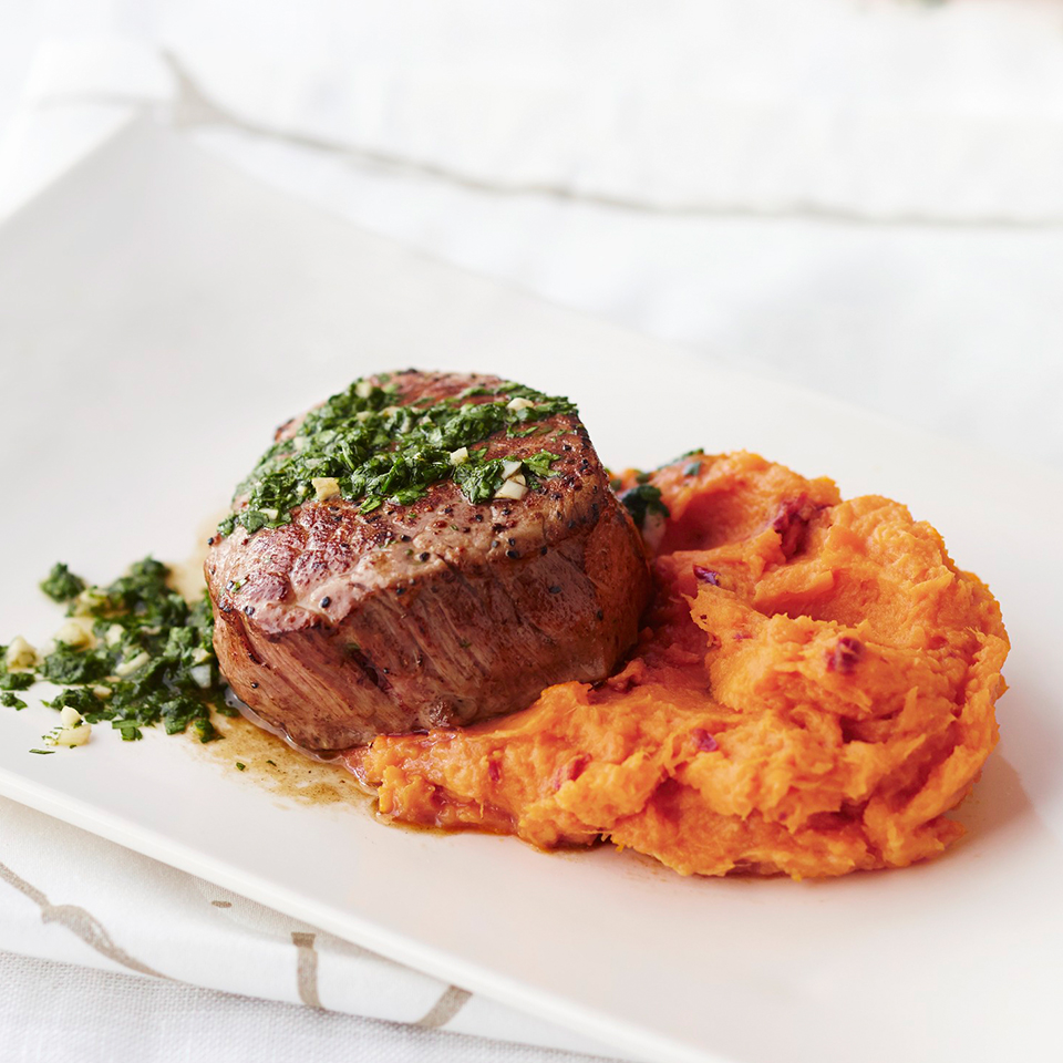 Petite Tenderloin with Chipotle Sweet Potatoes and Cilantro Chimichurri Allrecipes Trusted Brands