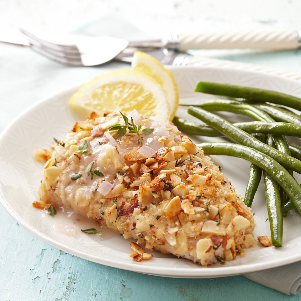 Almond-Thyme-Crusted Mahi Mahi with Lemon Chardonnay Sauce Trusted Brands