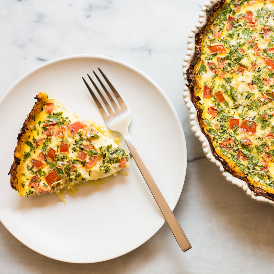 Tomato & Feta Quiche with Spaghetti Squash Crust Joy Howard