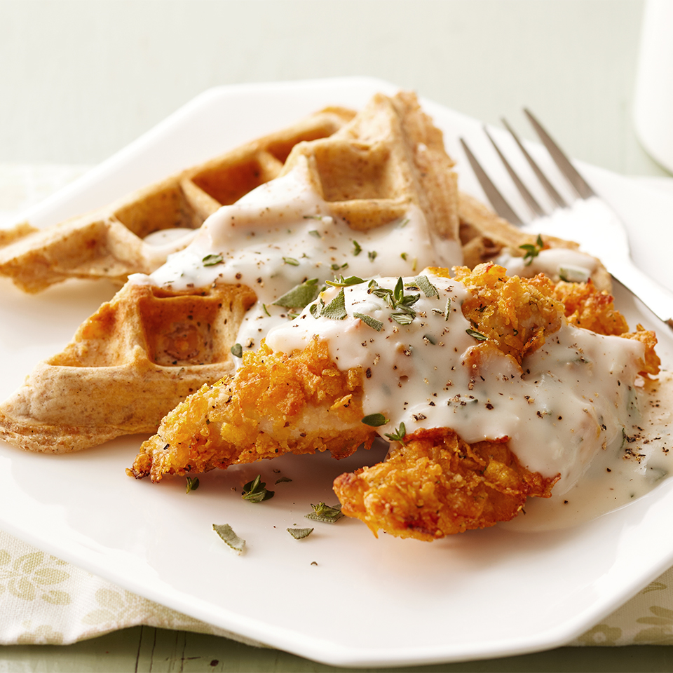 Savory Waffles with Herb Gravy and Crispy Chicken Tenders Trusted Brands